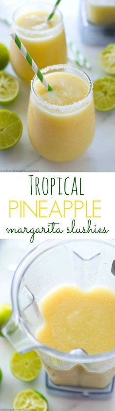 Tropical Pineapple Margarita Slushies - You'll feel like you took a trip to the tropics after one sip of these icy-cold, tropical-style margarita slushies! 5 minutes and a few basic ingredients is all you need! Party Drinks, Cocktail Drinks, Fun Drinks, Yummy Drinks, Cocktail Recipes, Alcoholic Drinks, Beverages, Yummy Food, Summer Cocktails