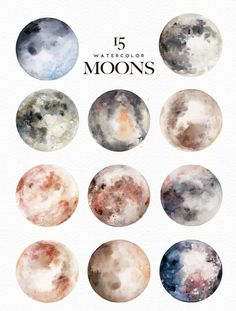 Watercolor Moons + Bonus by Graphic Box on Creative Market