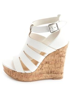 Laser Cut-Out Platform Wedge Sandals: Charlotte Russe