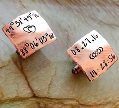 Custom Cuff links Copper Gold Brass Silver Hand Stamped