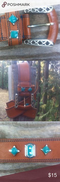 Camel leather with silver/ turquoise look accents Camel leather,turquoise and silver look accent, 35 long, looks like new , a great western but elegant look . A 'Kristens Find' .Posh on, girlfriend;) Accessories Belts