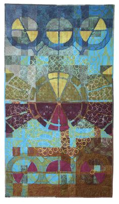 """Geometric Quilts - Kim Eichler-Messmer Hand Made Quilts;  Three Times: Hand dyed and screen-printed cotton and silk, pieced, reverse appliqued, discharged, quilted; 40"""" x 46""""; 2007"""