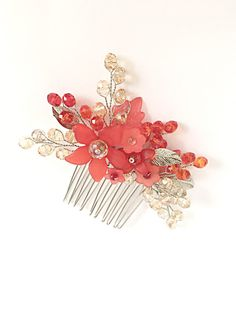 Crystal Hair Comb bridesmaid hair comb red by FlowerRainbow