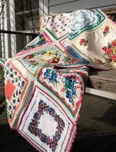 Retro - different kind of afghan/throw. Gotta gather up some pretty hankies!  Could even quilt this - oh the possibilities