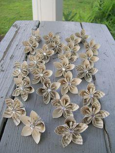 Book Text Paper Flowers - Wedding - Decoration - Eco Friendly. $60.00, via Etsy.