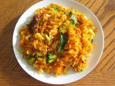 Indian Recipes - Poriyal - Thoran (used broccoli slaw, shredded cabbage, onion, mustard seed red pepper flakes & curry powder)