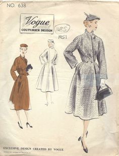 1951 Vintage VOGUE Sewing Pattern B38 COAT (1485)  #Vogue
