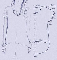 molde bata com manga Картинка Square off the armscye and make a little wider at the shoulder instead of sleeves . make into a poncho (okay, is everyone tired of my poncho penchant yet? Discover thousands of images about Pinned onto DIY Fashion Boa Tunic Sewing Patterns, Sewing Blouses, Sewing Shirts, Blouse Patterns, Clothing Patterns, Fashion Sewing, Diy Fashion, Costura Fashion, Schneider