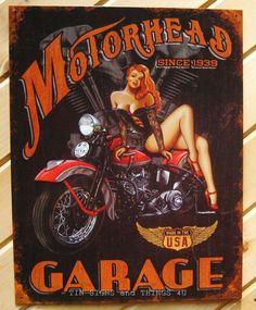 Motorhead Garage TIN SIGN pinup motorcycle vtg metal wall decor bar legends 1628