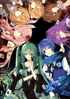 Vocaloid   this reminds me of Alice Human Sacrifice but you know its not because Luka and Gakupo are in the pic x3
