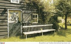 Weathered and Rustic Outdoor Bench Rustic Outdoor Benches, Outdoor Decor, Contemporary Garden Furniture, Jan Kurtz, Garden Design Plans, Front Yard Design, Garden Seating, Old Barns, Porch Swing