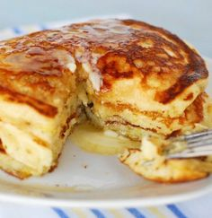 Recipe for Lemon Buttermilk Pancakes - Remember to use a light touch when mixing, this will ensure they stay nice and tender. The lemon zest gives them just a hint of lemon flavor, they weren't in-your-face lemony.