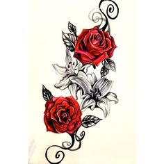 Lily and Rose Tattoo Design by Lucky978 ❤ liked on Polyvore featuring accessories, body art and tattoo