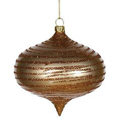 Felices Pascuas Collection Antique Gold Glitter Striped Shatterproof Christmas Onion Ornament 4 inch (100mm)