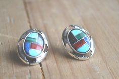 multi-stone inlay with concho detail earrings // vintage Carolyn Pollack  // vintage native american