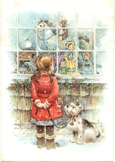 little girl with her dog, looking in the toy store window - artist, Marty Edwards