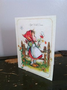 Two 1980s Vintage Greeting Cards: Get Well Soon and A Cheerful Hello