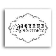Tampon bois - Joyeux Anniversaire - Etiquette baroque