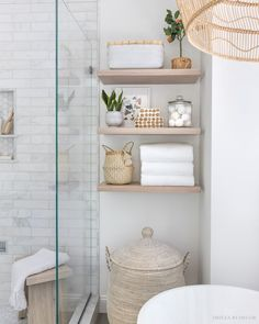 Great info on floating wood shelves - where to buy them and how to install them! Modern Bathroom Decor, Simple Bathroom, Bathroom Interior, Gold Bathroom, Bathroom Designs, Small Master Bathroom Ideas, Small Bathroom Inspiration, Bathroom Inspo, Bathroom Sets