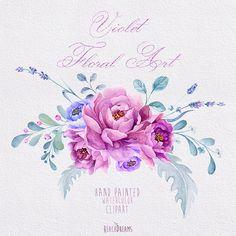 Arte floreale viola mano dipinto acquerello Clipart di ReachDreams
