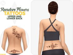 The Sims 4 Random Flowers Tattoos by nords-sims Sims 4 Cc Skin, Sims 4 Mm Cc, Sims 4 Cas, My Sims, Sims 4 Tattoos, Wing Tattoos, Tattos, Sleeve Tattoos, Sims 4 Piercings