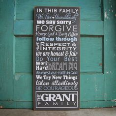 Custom Family Wood Sign- with mission statement or house rules. Personalize with own phrases, last name and established year. $85.00, via Etsy.