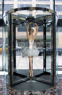 """Ballet school advertisement, creative! I guessing people just dance their way out of the building hahaha"""