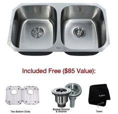 """Kraus KBU22 32"""" Undermount 50/50 Double Bowl 16 Gauge Stainless Steel Kitchen Sink  Item #: BCI1755675  $369.95"""