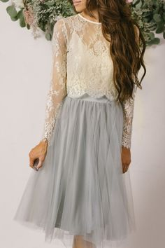 Anne's Wedding- Dress Idea. Grey Tulle Skirt, lace top in light pink or blue?