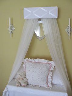 TUFTED BeD CaNoPy Crib WHITE Satin Princess Ballet Upholstered Ballerina by SoZoeyBoutique on Etsy