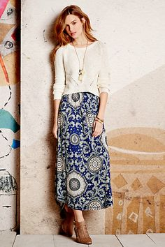 Lucerna Maxi Skirt with white short sleeved shirt and gladiator sandals #anthropologie