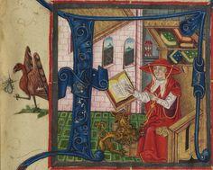 Illuminated Manuscript, Bible (part), St. Jerome in his study, Walters Manuscript W.805, fol. 1r detail by Walters Art Museum Illuminated Manuscripts