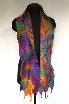 Nuno Felted Scarf  50/50 extra fine Australian merino wool / mulberry silk, ponge silk fabric, silk chiffon fabric, cotton gauze fabric, silk yarn.