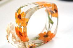 BRIGHT ORANGE FLOWER Handmade Bangle by smartflower on Etsy
