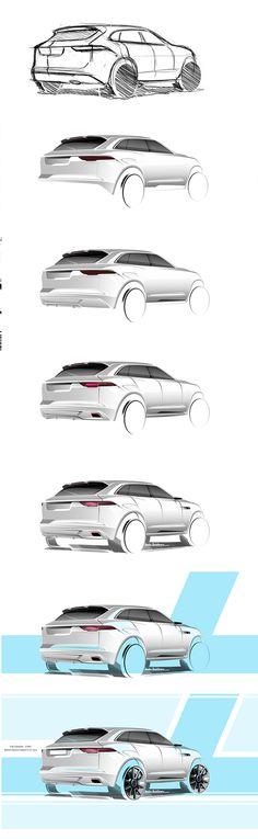Industrial design sketching step by step: car Jaguar SUV sketch on Behance Car Design Sketch, Car Sketch, Design Art, Graphic Design, Jaguar Suv, Sketching Techniques, Industrial Design Sketch, Sketch Inspiration, Design Inspiration
