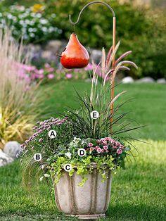 A. Lavender mum (Chrysanthemum 'Cheryl') -- 2  B. Sedge (Carex flagellifera) -- 1  C. Creeping Jenny (Lysimachia nummularia 'Aurea') -- 1  D. Pansy (Viola 'Icicle') -- 3  E. Purple fountaingrass (Pennisetum setaceum 'Rubrum') -- 1