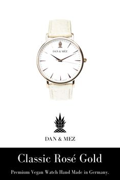 The Classic Rosé Gold is a vegan watch for men and women by DAN & MÉZ. The watch is hand made in Germany, runs with a swiss movement and features a vegan leather strap made from recycled pineapple leaves. Pineapple Leather, Stainless Steel Case, Vegan Leather, Watches For Men, Dan, Germany, Rose Gold, Leaves, Crystals