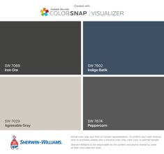 I found these colors with ColorSnap® Visualizer for iPhone by Sherwin-Williams: Iron Ore (SW Agreeable Gray (SW Indigo Batik (SW Peppercorn (SW Sherwin Williams Agreeable Gray, Sherwin Williams Gray, Urbane Bronze Sherwin Williams, Exterior Paint Sherwin Williams, Exterior Paint Colors For House, Interior Paint Colors, Paint Colors For Home, Exterior Colors, Peppercorn Sherwin Williams