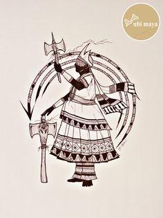 Shango/Xangô, King of Oyó, Orisha of thunder, symbolized by the oshé ax. By Ubi Maya (Brazil). Yoruba Orishas, Africa Tattoos, Fantasy Illustration, Sacred Art, Character Design References, Black Art, Maya, Old Things, Spirituality