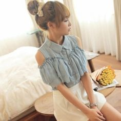 J76245 Japanese Fashion Sweet Off Shoulder Petal Buttons Shirt [J76245] - $8.94 : China,Korean,Japan Fashion clothing wholesale and Dropship online-Be the most beautiful Lady