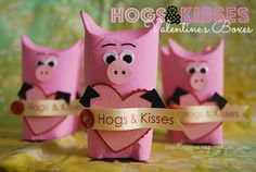http://creativemeinspiredyou.com/hogs-and-kisses-valentine/ Valentine's, recycle, class gift, toilet tubes, creative, candy holder, love, like, piggie, pigs, hogs and kisses, crafts, kids, kids crafts, fun, diy, handmade, homemade.