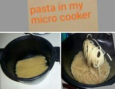 3 Easy Steps for Spaghetti in the Microwave!  1. Break spaghetti in half and lay in the bottom of the Micro-Cooker®  2. Cover pasta with water  3. Put the lid on the Micro-Cooker® and microwave on high for about 5 minutes (or until pasta is the right consistency)