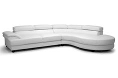 Baxton Studio Adelaide White Leather Modern Sectional Sofa (Right Facing Chaise) | Affordable Modern Furniture in Chicago