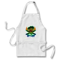 The Chef: Neon Chef Skull Apron - Visit www.zazzle.com/thechefshoppe to see more cool culinary themed skulls on hundreds of products.