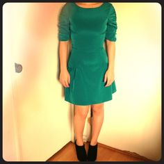 3X!!Host PickASOS Dress Green gorgeous dress from asos it is a skater style form fitting on top. Has zipper on the back and sleeves are ruffled. Never worn. Just tried on to see how it fit and to take the pic ASOS Dresses