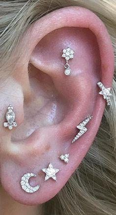 cute multiple ear piercing ideas for women cartilage tragus helix flower moon lighting jewelry studs Gold Bar Earrings, Tiny Stud Earrings, Opal Earrings, Helix Earrings, Cartilage Earrings, Pierced Earrings, Cute Ear Piercings, Multiple Ear Piercings, Kylie Jenner Ear Piercings