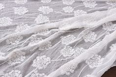 Embroidered silk Yoryu chiffon fabric beautiful dandelion