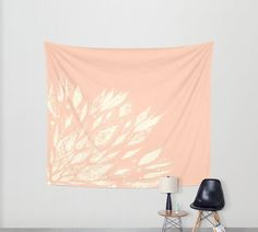 Blush Pink Flower Wall Tapestry pink wall tapestry by lake1221