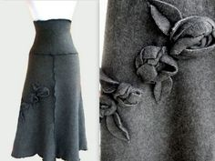 Sweater Fleece Skirt with Rosette Decor M/L by RebeccasArtCloset, $60.00 http://www.etsy.com/listing/58813658/sweater-fleece-skirt-with-rosette-decor