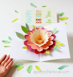 Easy DIY Happy Mother's Day card with beautiful big pop up flower: tutorial, video & free printable templates for handmade version & Cricut print and cut! - A Piece of Rainbow # Easy DIY beauty DIY Happy Mother's Day Card with Pop Up Flower Diy Happy Mother's Day, Happy Mother's Day Card, Happy Mother S Day, Mother's Day Diy, Happy Mothers, Pop Up Flower Cards, Pop Up Flowers, Pop Up Cards, Diy Flowers